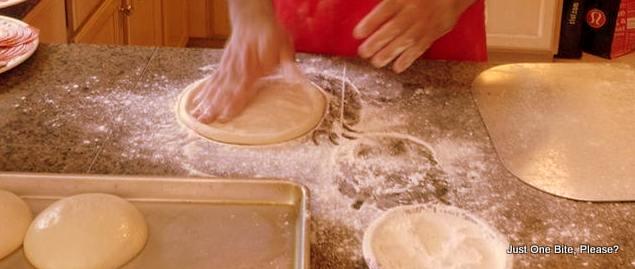 Pressing the dough